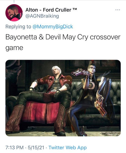 Font - Alton - Ford Cruller TM @AGNBraiking Replying to @MommyBigDick Bayonetta & Devil May Cry crossover game 7:13 PM · 5/15/21 · Twitter Web App