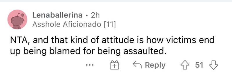 Rectangle - Lenaballerina · 2h Asshole Aficionado [11] NTA, and that kind of attitude is how victims end up being blamed for being assaulted. G Reply 4 51 3 ..