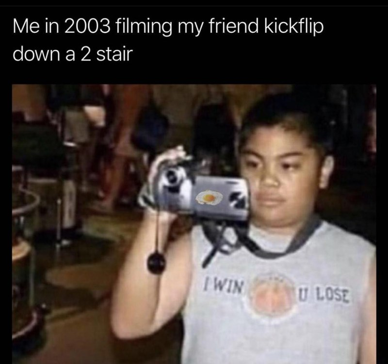 Muscle - Me in 2003 filming my friend kickflip down a 2 stair IWIN U LOSE
