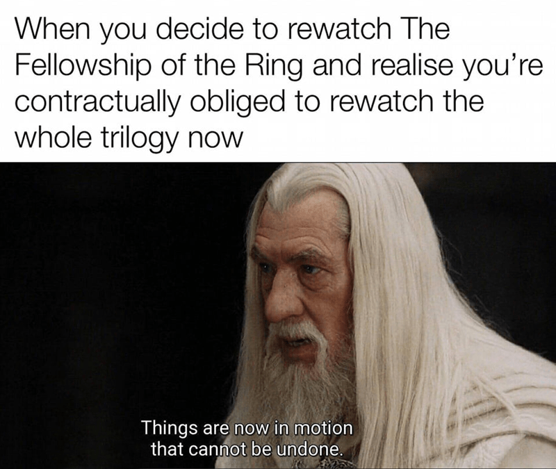 Beard - When you decide to rewatch The Fellowship of the Ring and realise you're contractually obliged to rewatch the whole trilogy now Things are now in motion that cannot be undone.