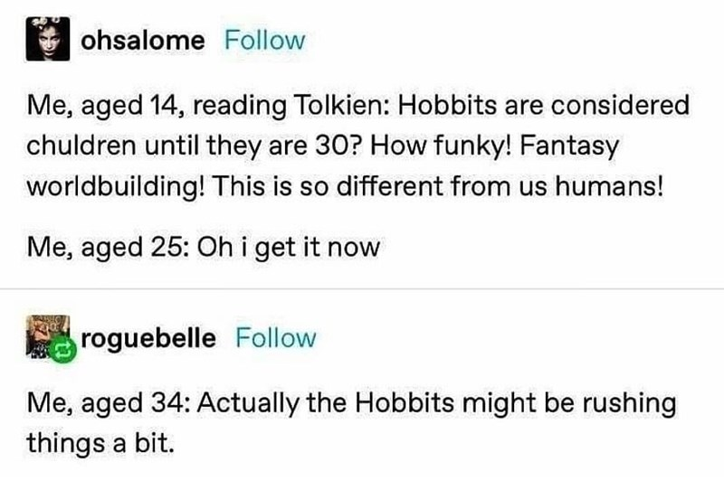 Font - ohsalome Follow Me, aged 14, reading Tolkien: Hobbits are considered chuldren until they are 30? How funky! Fantasy worldbuilding! This is so different from us humans! Me, aged 25: Oh i get it now roguebelle Follow Me, aged 34: Actually the Hobbits might be rushing things a bit.