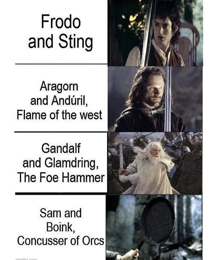 Outerwear - Frodo and Sting Aragorn and Andúril, Flame of the west Gandalf and Glamdring, The Foe Hammer Sam and Boink, Concusser of Orcs imoflin om