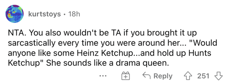 """Rectangle - kurtstoys · 18h NTA. You also wouldn't be TA if you brought it up sarcastically every time you were around her... """"Would anyone like some Heinz Ketchup...and hold up Hunts Ketchup"""" She sounds like a drama queen. 6 Reply 4 251 3 ..."""