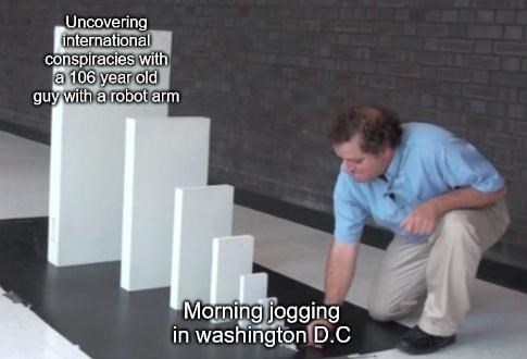 Sleeve - Uncovering international conspiracies with a 106 year old guy with a robot arm Morning jogging in washington D.C