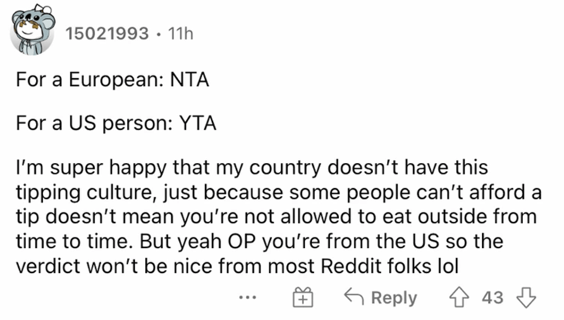 Font - 15021993 · 11h For a European: NTA For a US person: YTA I'm super happy that my country doesn't have this tipping culture, just because some people can't afford a tip doesn't mean you're not allowed to eat outside from time to time. But yeah OP you're from the US so the verdict won't be nice from most Reddit folks lol G Reply 4 43 3