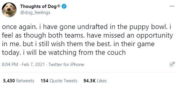 Organism - Thoughts of Dog® @dog_feelings ... once again. i have gone undrafted in the puppy bowl. i feel as though both teams. have missed an opportunity in me. but i still wish them the best. in their game today. i will be watching from the couch 8:04 PM - Feb 7, 2021 - Twitter for iPhone 5,430 Retweets 154 Quote Tweets 94.3K Likes