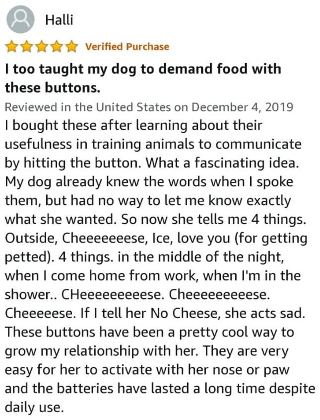 Font - Halli Verified Purchase I too taught my dog to demand food with these buttons. Reviewed in the United States on December 4, 2019 I bought these after learning about their usefulness in training animals to communicate by hitting the button. What a fascinating idea. My dog already knew the words when I spoke them, but had no way to let me know exactly what she wanted. So now she tells me 4 things. Outside, Cheeeeeeese, Ice, love you (for getting petted). 4 things. in the middle of the night