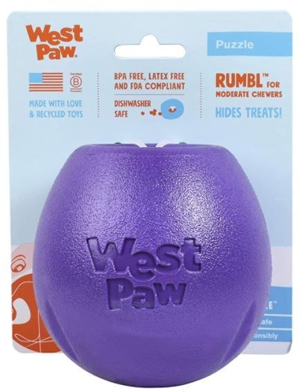 Purple - West Paw. Puzzle BPA FREE, LATEX FREE AND FDA COMPLIANT RUMBL FOR MODERATE CHEWERS DISHWASHER SAFE MADE WITH LOVE & RECYCLED TOYS HIDES TREATS! West Paw E afe onsibly