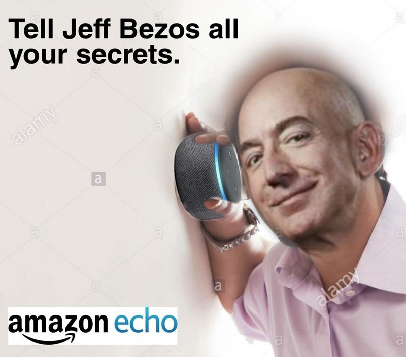 Nose - Tell Jeff Bezos all your secrets. alamy a a a a a amazon echo alamy a