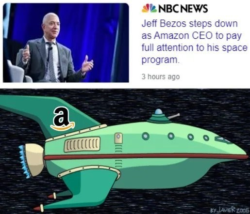 Fin - SL NBCNEWS Jeff Bezos steps down as Amazon CEO to pay full attention to his space program. 3 hours ago a By JAVER zo06