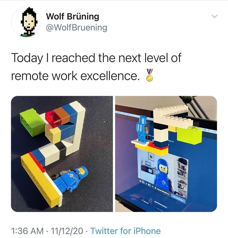Font - Wolf Brüning @WolfBruening Today I reached the next level of remote work excellence. 1. Nov en r 1:36 AM · 11/12/20 · Twitter for iPhone 100