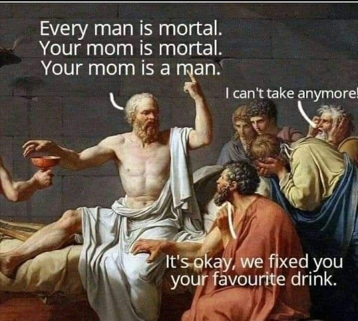 Poster - Every man is mortal. Your mom is mortal. Your mom is a man. I can't take anymore! It's okay, we fixed you your favourite drink.