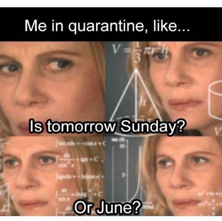Forehead - Me in quarantine, like... V = 3 Is tomorrow Sunday? U-C CON Or June?