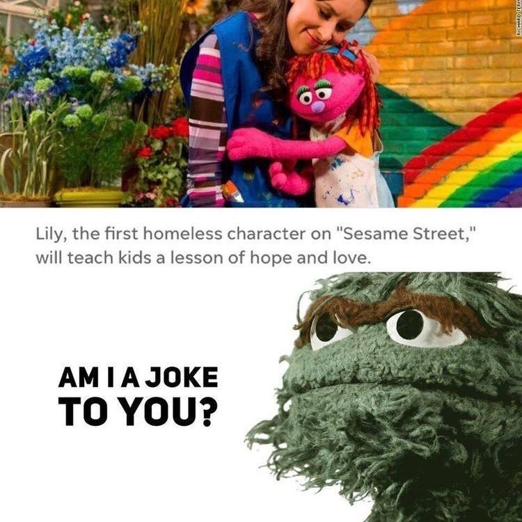 """Plant - Lily, the first homeless character on """"Sesame Street,"""" will teach kids a lesson of hope and love. AM IA JOKE TO YOU?"""