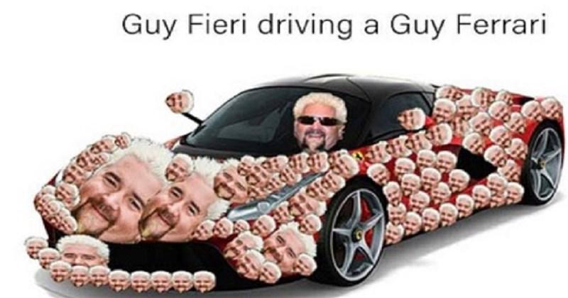 Car - Guy Fieri driving a Guy Ferrari