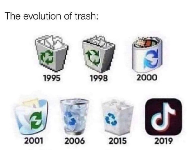 Tableware - The evolution of trash: 1995 1998 2000 2001 2006 2015 2019