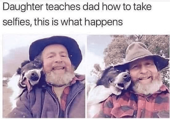 Clothing - Daughter teaches dad how to take selfies, this is what happens
