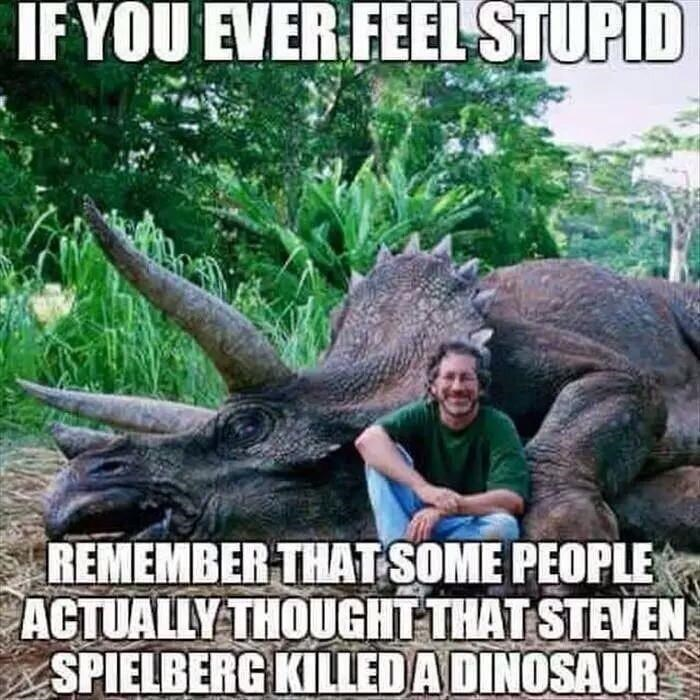 Smile - IF YOU EVER FEEL STUPID REMEMBER THAT SOME PEOPLE ACTUALLY THOUGHT THAT STEVEN SPIELBERG KILLED A DINOSAUR