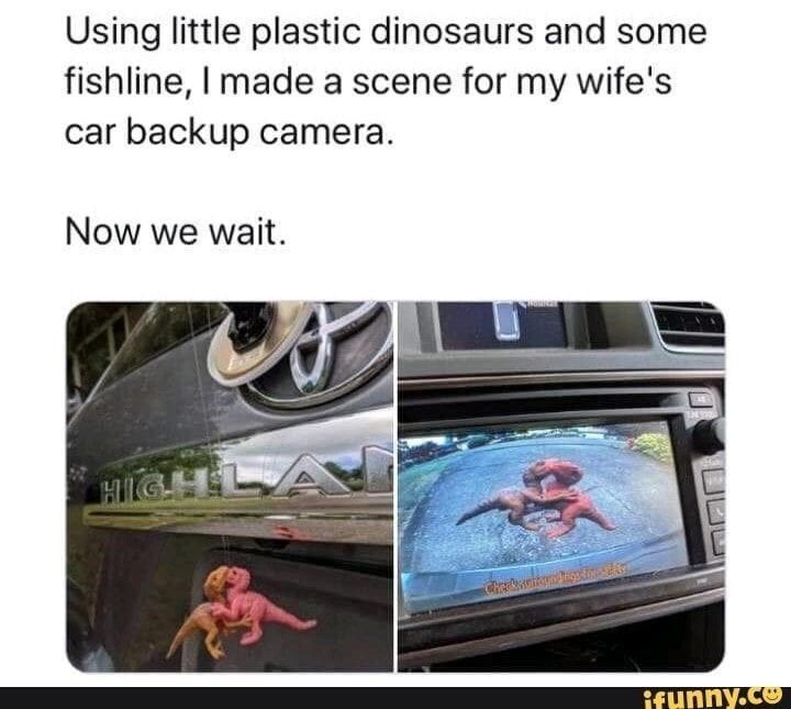 Cameras & optics - Using little plastic dinosaurs and some fishline, I made a scene for my wife's car backup camera. Now we wait. HIIGHLA ifunny.co