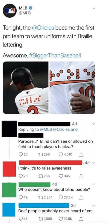 Product - MLB O @MLB Tonight, the @Orioles became the first pro team to wear uniforms with Braille lettering. Awesome. #BiggerThanBaseball 4d Replying to @MLB @Orioles and Purpose..? Blind can't see or allowed on field to touch players backs..? O 20 17 296 O 4,010 .4d v I think it's to raise awareness Q 26 t7 266 O 945 4d Who doesn't know about blind people? Q72 t32,354 23.5K 1 3d Deaf people probably never heard of em. O 41 ロ1085 O 10.5K