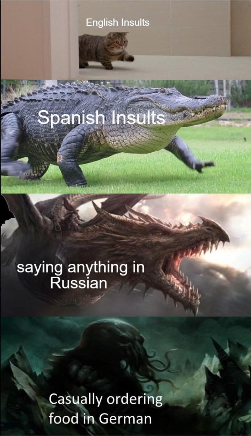 Vertebrate - English Insults Spanish Insults saying anything in Russian Casually ordering food in German