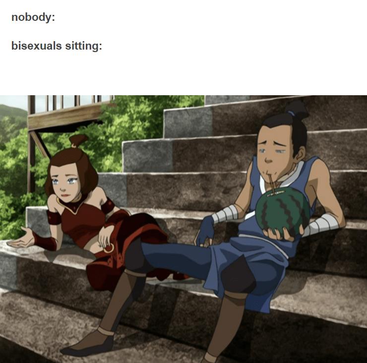 Cartoon - nobody: bisexuals sitting: