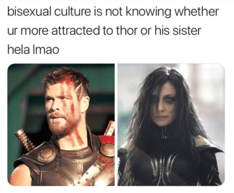 Hair - bisexual culture is not knowing whether ur more attracted to thor or his sister hela Imao