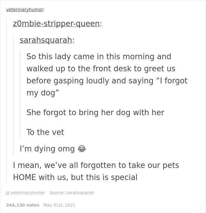 """Font - veterinaryhumor: z0mbie-stripper-queen: sarahsquarah: So this lady came in this morning and walked up to the front desk to greet us before gasping loudly and saying """"I forgot my dog"""" She forgot to bring her dog with her To the vet I'm dying omg O I mean, we've all forgotten to take our pets HOME with us, but this is special veterinaryhumor Source: sarahsquarah 244,130 notes May 31st, 2021"""