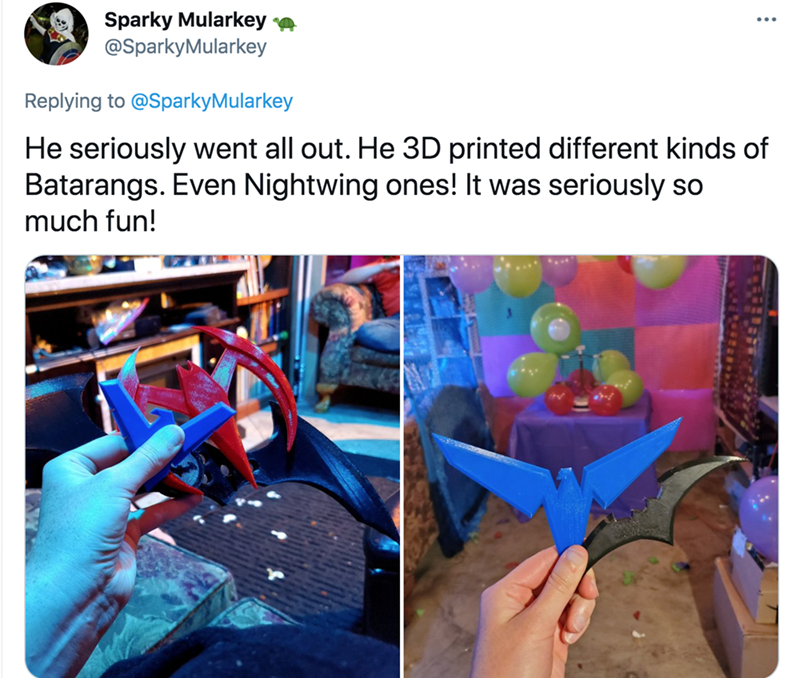 Product - Sparky Mularkey @SparkyMularkey Replying to @SparkyMularkey He seriously went all out. He 3D printed different kinds of Batarangs. Even Nightwing ones! It was seriously so much fun!