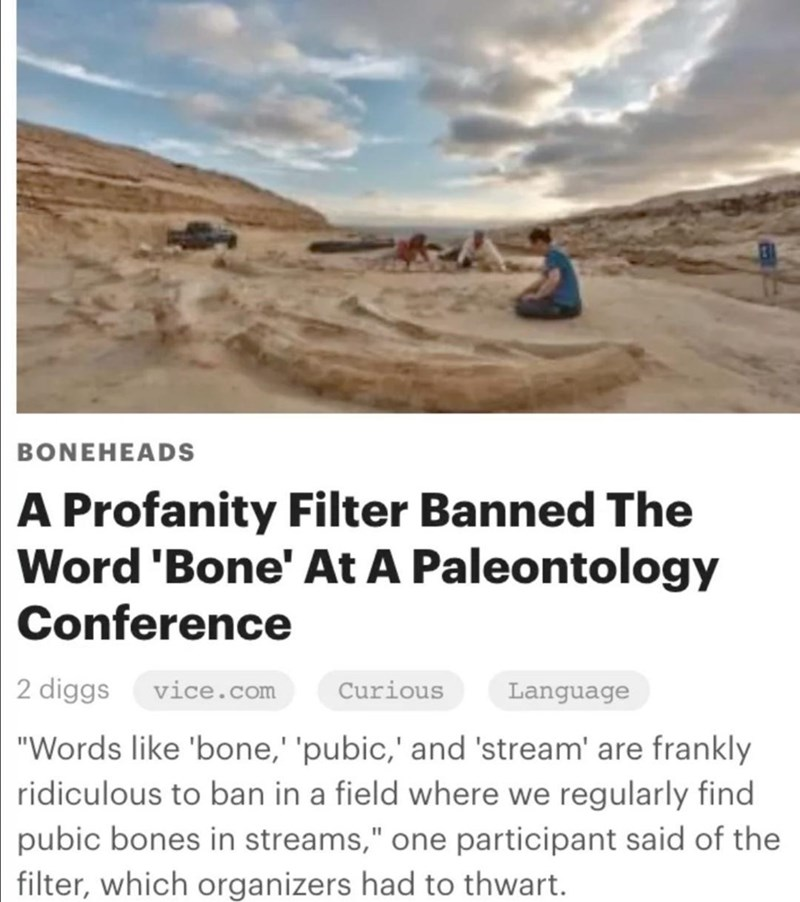 """Cloud - BONEHEADS A Profanity Filter Banned The Word 'Bone' At A Paleontology Conference 2 diggs vice.com Curious Language """"Words like 'bone,' 'pubic,' and 'stream' are frankly ridiculous to ban in a field where we regularly find pubic bones in streams,"""" one participant said of the filter, which organizers had to thwart."""