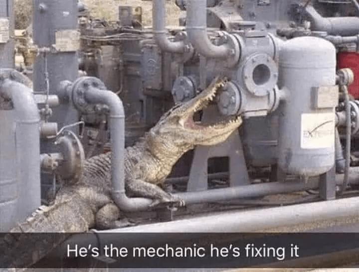 Gas - He's the mechanic he's fixing it