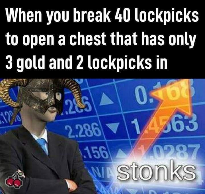 World - When you break 40 lockpicks to open a chest that has only 3 gold and 2 lockpicks in 0.68 285 A 2.286 14563 156 0287 Wstonks