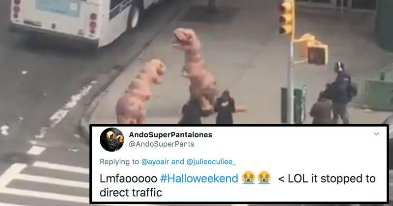 A viral video of people in dinosaur costumes crossing the street is the best part about Halloween.