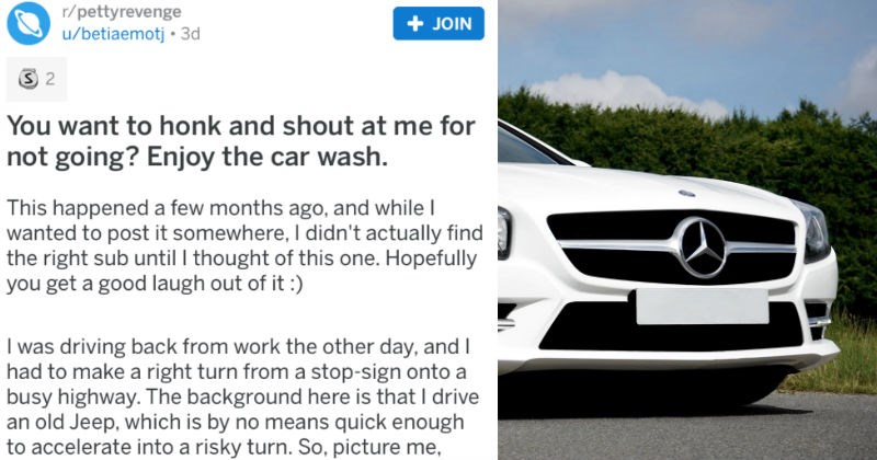 Guy takes revenge on an entitled driver by giving them a muddy car wash.