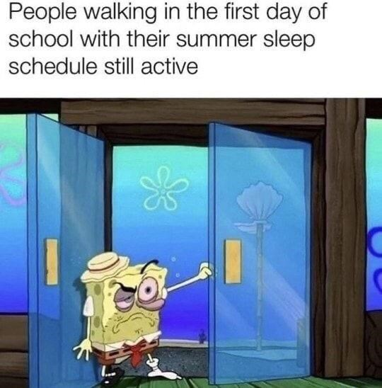 Blue - People walking in the first day of school with their summer sleep schedule still active