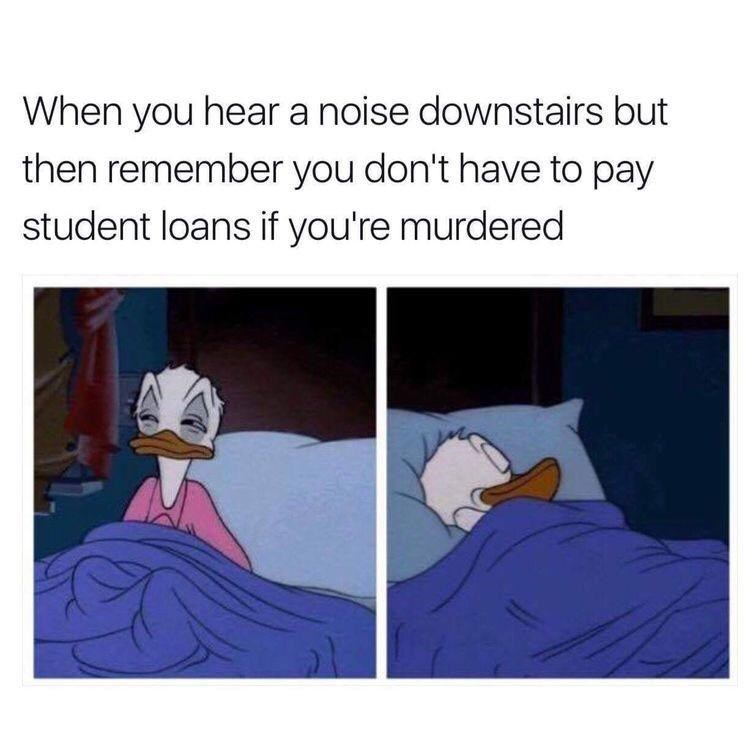 Cartoon - When you hear a noise downstairs but then remember you don't have to pay student loans if you're murdered