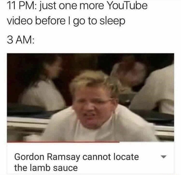 Hair - 11 PM: just one more YouTube video before I go to sleep 3 AM: Gordon Ramsay cannot locate the lamb sauce