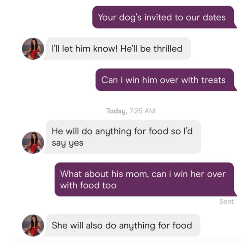 Product - Your dog's invited to our dates l'll let him know! He'll be thrilled Can i win him over with treats Today, 7:25 AM He will do anything for food so l'd say yes What about his mom, can i win her over with food too Sent She will also do anything for food