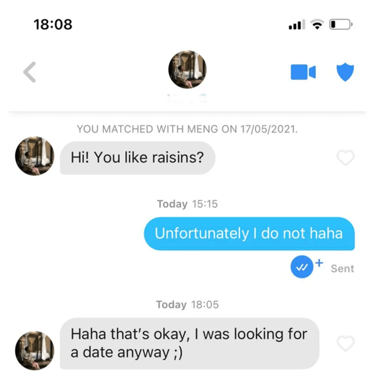 Font - 18:08 YOU MATCHED WITH MENG ON 17/05/2021. Hi! You like raisins? Today 15:15 Unfortunately l do not haha w + Sent Today 18:05 Haha that's okay, I was looking for a date anyway ;)