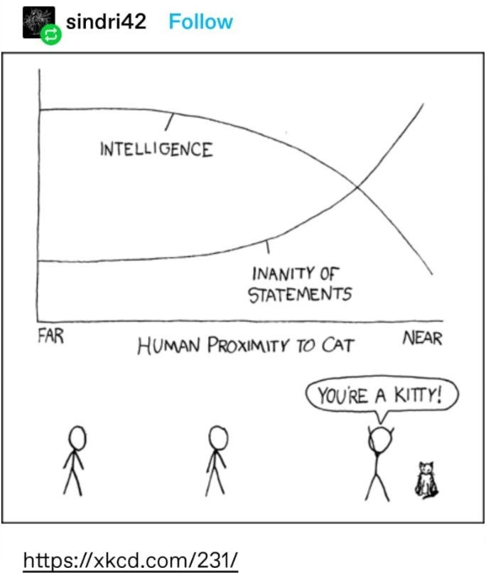 Product - sindri42 Follow INTELLIGENCE INANITY OF STATEMENTS FAR HUMAN PROXIMITY TO CAT NEAR YOU'RE A KITTY! https://xkcd.com/231/