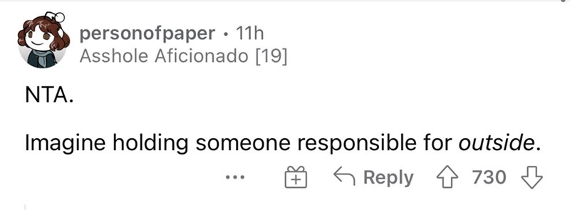 Font - personofpaper · 11h Asshole Aficionado [19] NTA. Imagine holding someone responsible for outside. G Reply 1 730 ...