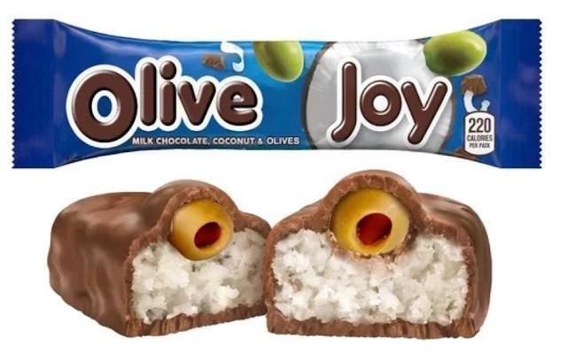 Food - Olive Joy Joy 220 CALORIES P PAK MILK CHOCOLATE, COCONUT A OLIVES