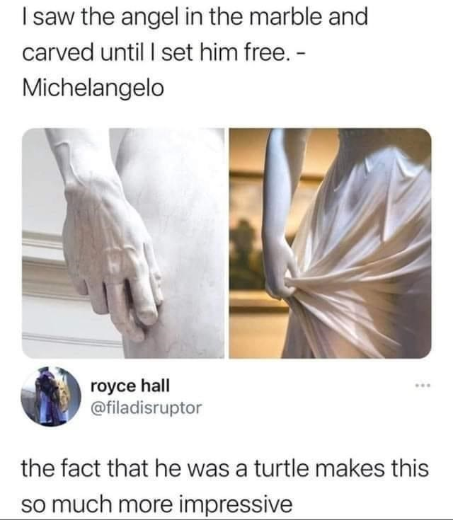 Hand - I saw the angel in the marble and carved until I set him free. - Michelangelo royce hall @filadisruptor ... the fact that he was a turtle makes this so much more impressive