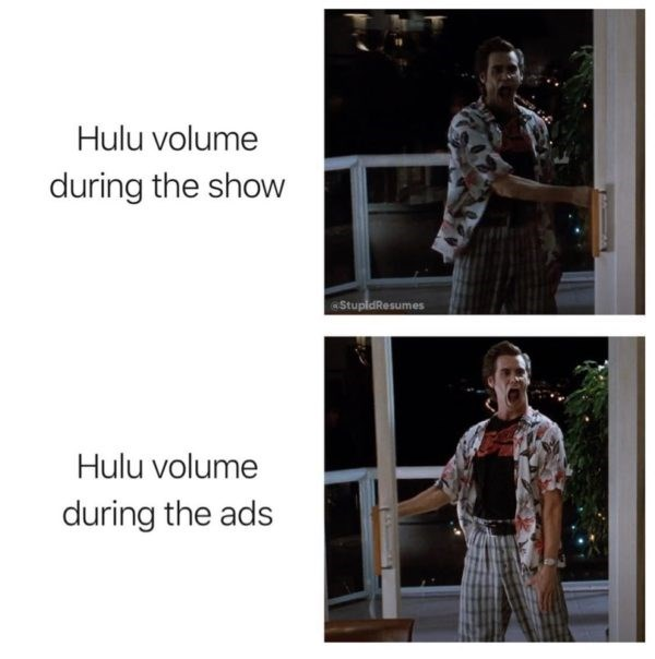 Shoulder - Hulu volume during the show StupidResumes Hulu volume during the ads
