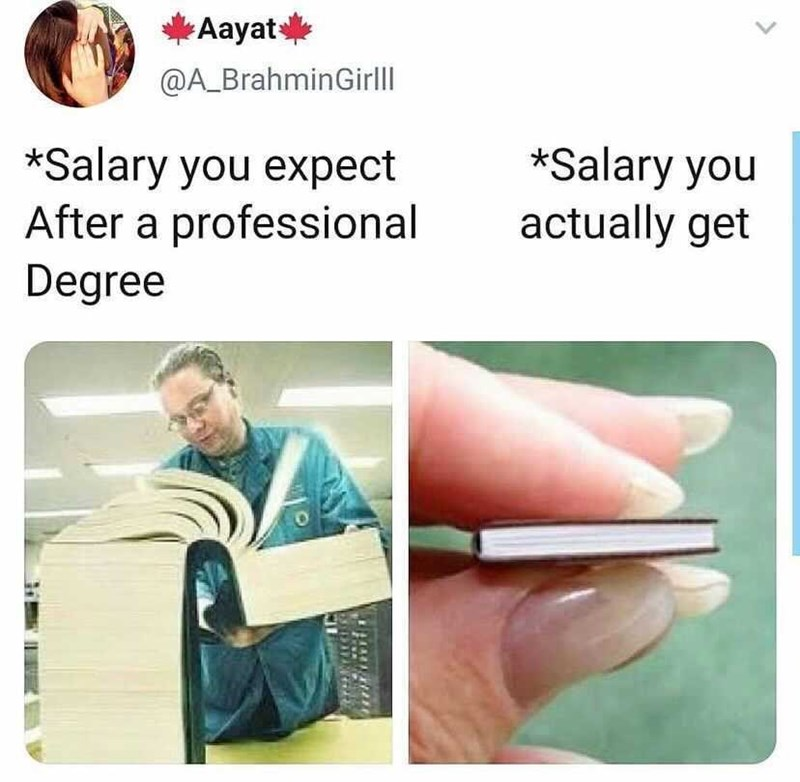 Shirt - Aayats @A_BrahminGirll *Salary you expect After a professional *Salary you actually get Degree