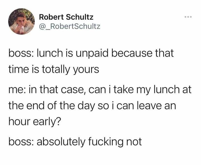 Font - Robert Schultz ... @_RobertSchultz boss: lunch is unpaid because that time is totally yours me: in that case, can i take my lunch at the end of the day so i can leave an hour early? boss: absolutely fucking not