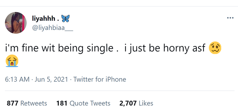 Rectangle - liyahhh . X @liyahbiaa ... i'm fine wit being single. i just be horny asf 6:13 AM · Jun 5, 2021 · Twitter for iPhone 877 Retweets 181 Quote Tweets 2,707 Likes
