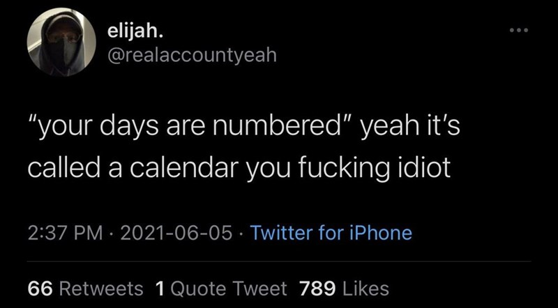 """Font - elijah. @realaccountyeah ... """"your days are numbered"""" yeah it's called a calendar you fucking idiot 2:37 PM · 2021-06-05 · Twitter for iPhone 66 Retweets 1Quote Tweet 789 Likes"""