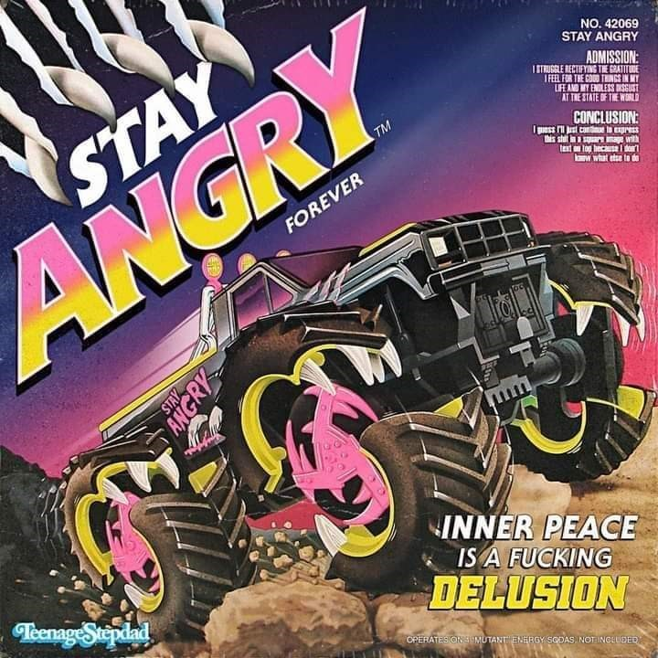 Wheel - NO. 42069 STAY ANGRY ADMISSION: I TUGGLE NECTIFYING TIE GRATITDE IFEL FOR THE COD THNGS IN MY IFE AND MY ENDLESS USGUST AT THE STATE OF THE WORLD STAY TM CONCLUSION: his shit in a sr age with test log heca l de W what etse to de ANGRY FOREVER INNER PEACE IS A FUCKING DELUSION Teenage Stepdad OPERATES ONS MUTANT ENERGY SODAS. NOT INGEUDED STAY ANGRY