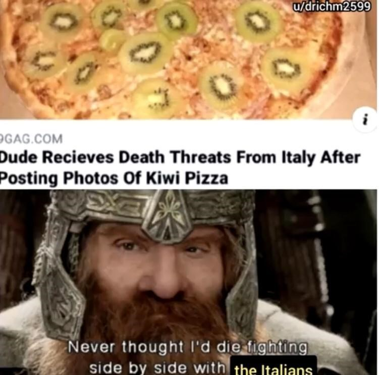 Beard - u/drichm2599 OGAG.COM Dude Recieves Death Threats From Italy After Posting Photos Of Kiwi Pizza Never thought l'd die fighting side by side with the Italians
